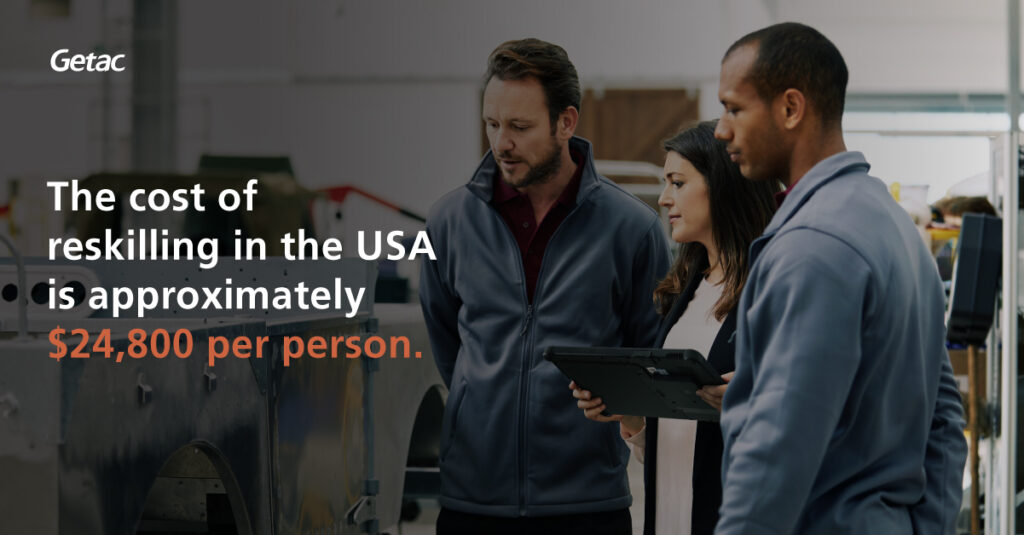 The cost of reskilling in the US is at approximately $24,800 per person.